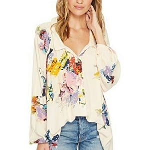 Free People Floral Watercolor Button Down Tunic